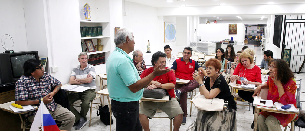 Blas Dimir Villalba teaches Russian language in Buenos Aires, Argentina, March 6, 2018.