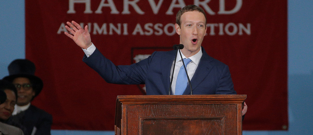 Facebook founder Mark Zuckerberg speaks during the Alumni Exercises following the 366th Commencement Exercises at Harvard University in Cambridge, Massachusetts, U.S., May 25, 2017.   REUTERS/Brian Snyder - RTX37NKX