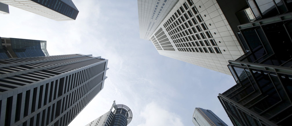 A view of office buildings in the central business district in Singapore