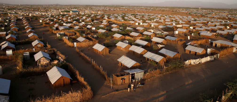 An aerial view shows recently constructed houses at the Kakuma refugee camp in Turkana county, northwest of Nairobi, Kenya, January 31, 2018