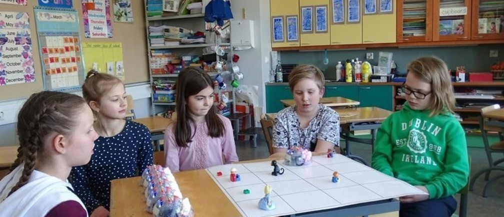 Students use a Blue-bots, a programmable robots, during their lesson at the school in Tampere, Finland March 27, 2017.