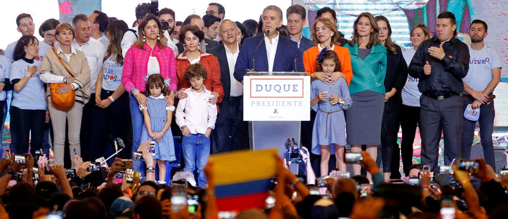 Presidential candidate Ivan Duque speaks to supporters after he won the presidential election in Bogota, Colombia, June 17, 2018. REUTERS/Andres Stapff