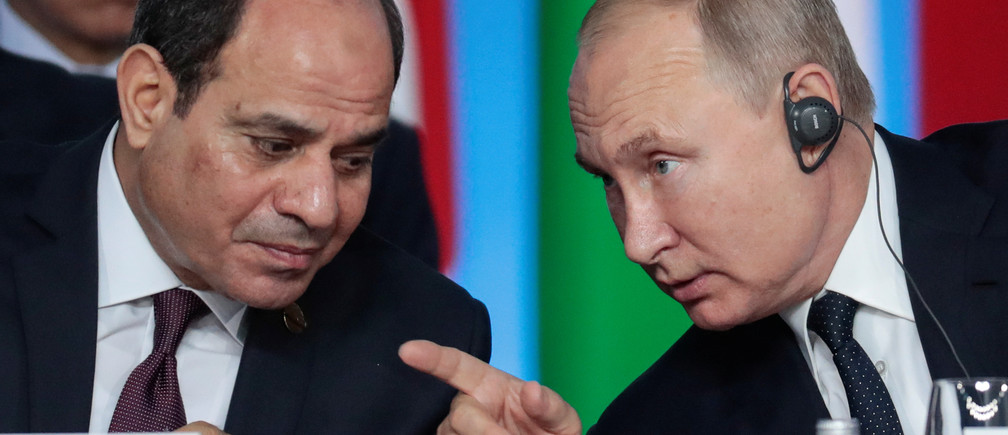 Egypt's President Abdel Fattah el-Sisi and Russia's President Vladimir Putin attend the first plenary session as part of the 2019 Russia-Africa Summit at the Sirius Park of Science and Art in Sochi, Russia, October 24, 2019. Sergei Chirikov/Pool via REUTERS - RC11771B7F00