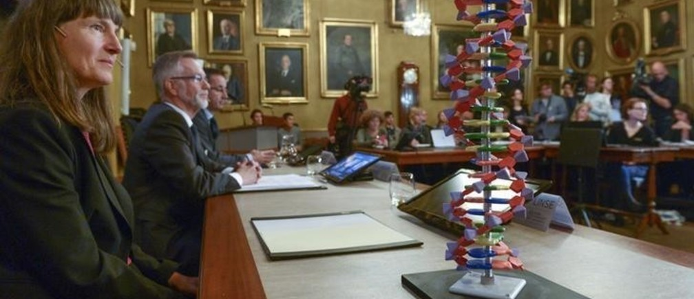 A model of the DNA double helix sits on a desk in front of professor Sara Snogerup Linse (L), a member of the Nobel Assembly, during a news conference at the Royal Swedish Academy in Stockholm October 7, 2015. Sweden's Tomas Lindahl, the U.S.-based Paul Modrich and Turkish-born Aziz Sancar won the 2015 Nobel Prize for Chemistry for work on mapping how cells repair damaged DNA, the award-giving body said on Wednesday.  REUTERS/Fredrik Sandberg/TT News Agency   ATTENTION EDITORS - THIS IMAGE WAS PROVIDED BY A THIRD PARTY. FOR EDITORIAL USE ONLY. NOT FOR SALE FOR MARKETING OR ADVERTISING CAMPAIGNS. THIS PICTURE IS DISTRIBUTED EXACTLY AS RECEIVED BY REUTERS, AS A SERVICE TO CLIENTS. SWEDEN OUT. NO COMMERCIAL OR EDITORIAL SALES IN SWEDEN. NO COMMERCIAL SALES.