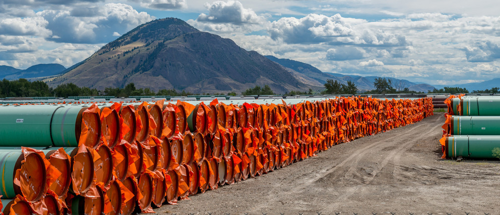 Steel pipe to be used in the oil pipeline construction of the Canadian government's Trans Mountain Expansion Project lies at a stockpile site in Kamloops, British Columbia, Canada June 18, 2019. REUTERS/Dennis Owen - RC15E3AFF410