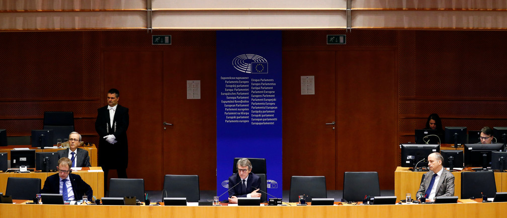 European Parliament President David Sassoli attends a special session of the European Parliament to approve special measures to soften the sudden economic impact of coronavirus disease (COVID-19), in Brussels, Belgium March 26, 2020. REUTERS/Francois Lenoir - RC2MRF9PH1A7