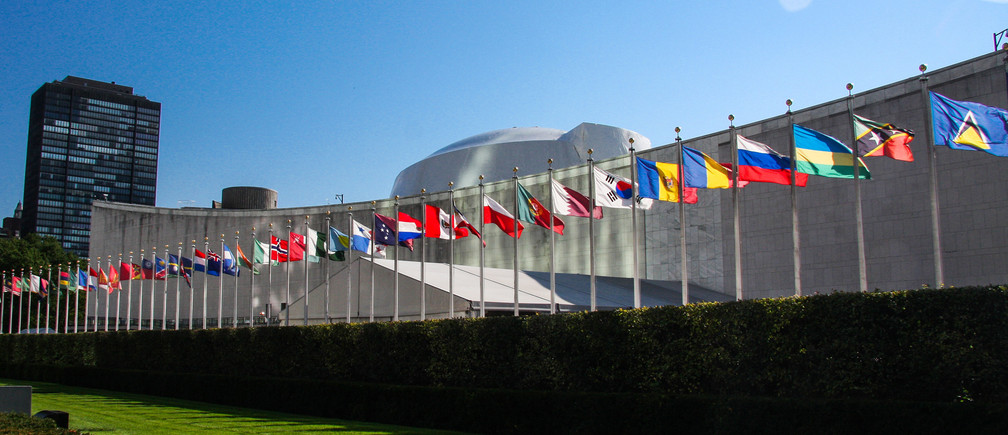 The world's flags fly outside the UN General Assembly building in New York, US