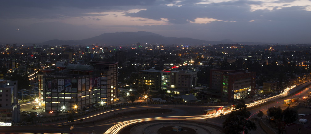 A general view shows part of the capital of Ethiopia, Addis Ababa, at night.