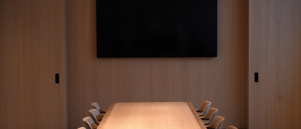 The boardroom is seen during the grand opening and media preview of the new Apple Carnegie Library store in Washington, U.S., May 9, 2019. REUTERS/Clodagh Kilcoyne - RC1BE4722780
