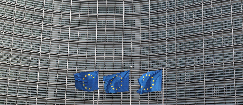 European Union flags fly outside the European Commission headquarters in Brussels, Belgium, April 10, 2019. REUTERS/Yves Herman - RC145C14C020