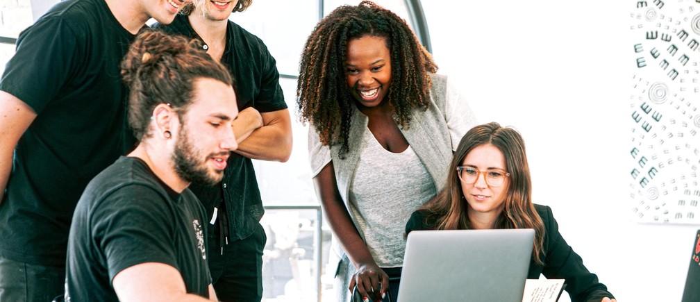 A group of millennials at work