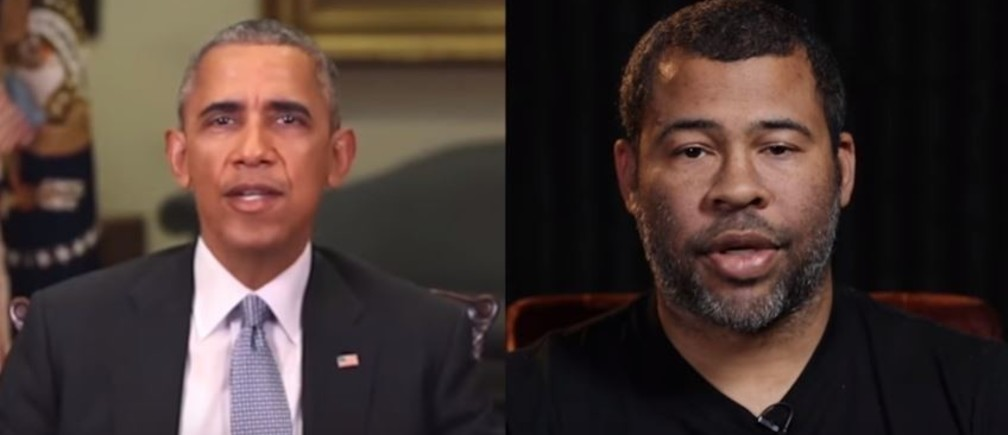 A still from Buzzfeed's video, in which technology was used to fake footage of Barack Obama, accompanied by an impersonation of his voice by Jordan Peele.