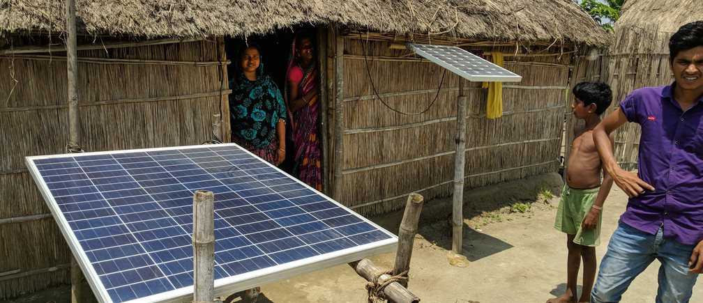 Multiple solar home systems being used in rural households in Assam