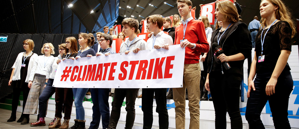 Local school children join Greta Thunberg's initiative on climate strike during the COP24 UN Climate Change Conference 2018 in Katowice, Poland December 14, 2018.