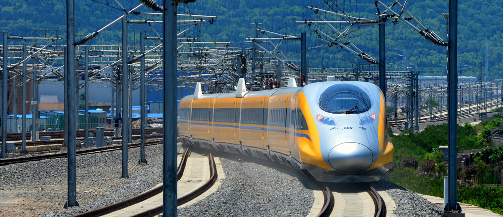 A high-speed bullet train linking Baoji and Lanzhou is pictured during a test run in Shaanxi province, China, May 16, 2017. Picture taken May 16, 2017. REUTERS/Stringer ATTENTION EDITORS - THIS IMAGE WAS PROVIDED BY A THIRD PARTY. EDITORIAL USE ONLY. CHINA OUT. NO COMMERCIAL OR EDITORIAL SALES IN CHINA. - RC147821BCA0