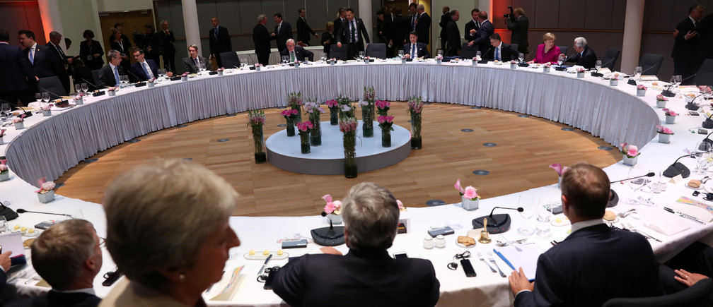 General view during a dinner meeting at a European Union leaders summit after European Parliament elections to discuss who should run the EU executive for the next five years, in Brussels, Belgium May 28, 2019. Francisco Seco/Pool via REUTERS