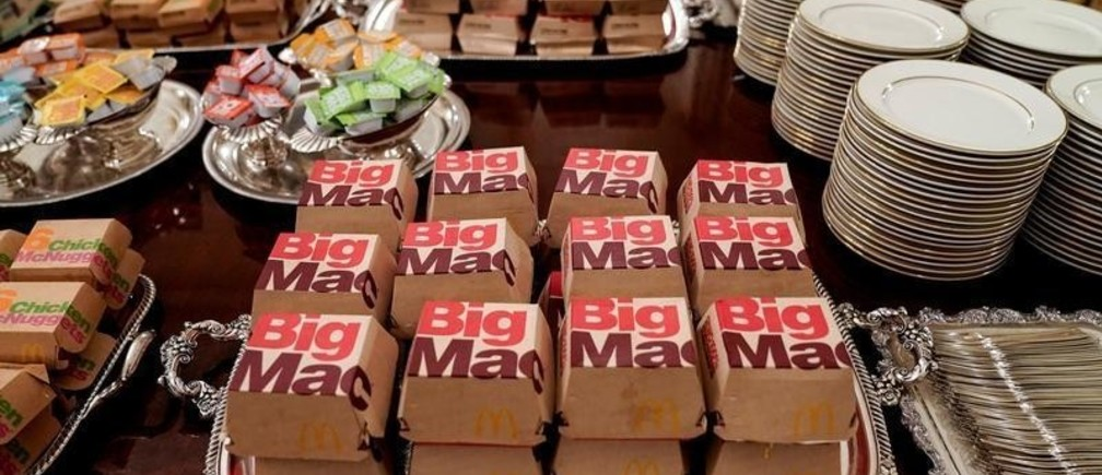 Fast food hamburgers from the chain McDonald's are provided due to the partial government shutdown as the 2018 College Football Playoff National Champion Clemson Tigers are welcomed in the State Dining Room of the White House in Washington, U.S., January 14, 2019.      REUTERS/Joshua Roberts - RC1576BB7330