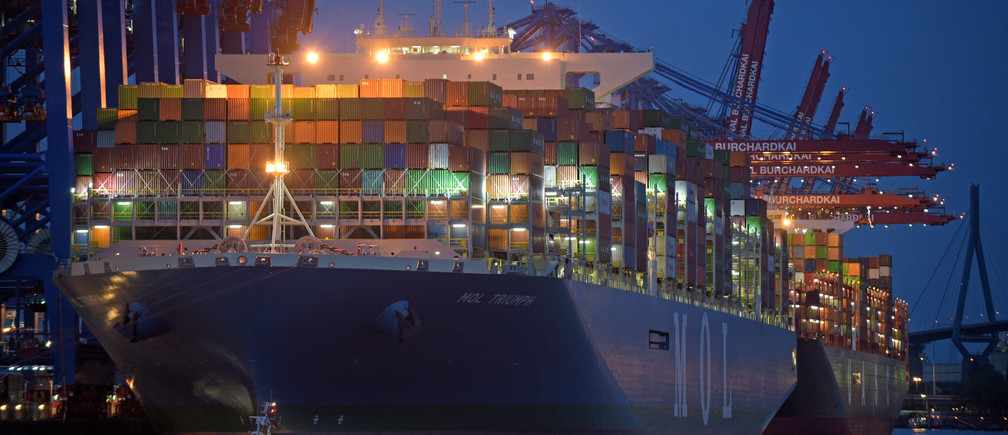 Mol Triumph, the world's largest container ship, docked in Hamburg