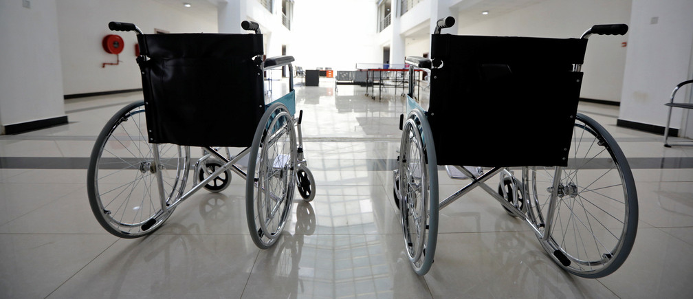 Two wheelchairs are pictured at the newly commissioned Idu Isolation Centre, as authorities struggle to contain the coronavirus disease (COVID-19) outbreak, in Abuja, Nigeria. May 11, 2020. REUTERS/Afolabi Sotunde - RC2HMG9F5ZC3