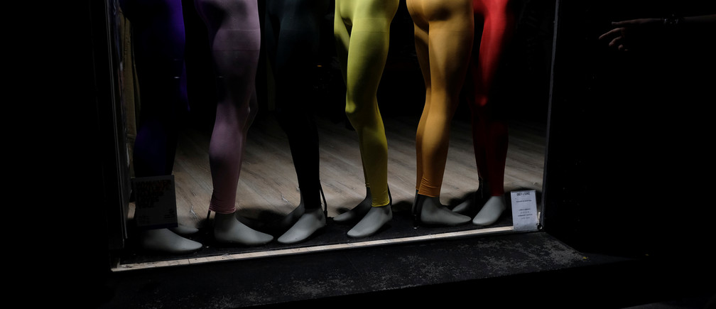 Tights in LGBT colours are displayed in a showcase at Chueca quarter during World Pride in Madrid, Spain, June 27, 2017. REUTERS/Juan Medina - RC1C2243B190