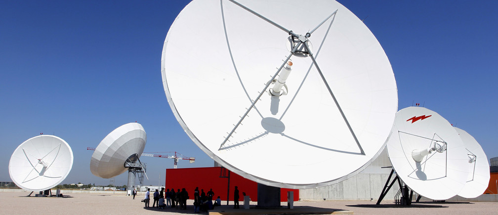 Giant parabolic antennas are pictured at the new United Nations Support Base and telecommunications facility, that supports peace operations worldwide, in Valencia July 6, 2011. REUTERS/Heino Kalis (SPAIN - Tags: BUSINESS SOCIETY POLITICS) - GM1E7761IE601