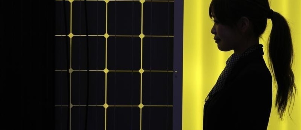 A woman is silhouetted next to a solar panel display by solar module supplier Upsolar at the fourth International Photovoltaic Power Generation (PV) Expo in Tokyo March 2, 2011. More than 600 companies in the solar energy business from 18 countries are taking part in the March 2-4 expo, which showcases firms and products related to photovoltaic power generation, according to the organiser. REUTERS/Yuriko Nakao (JAPAN - Tags: BUSINESS SCI TECH ENVIRONMENT) - RTR2JBUQ