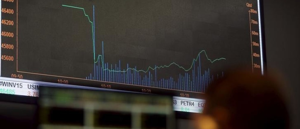 A man looks at an electronic board showing the graph of the recent fluctuations of market indices of Bovespa (Sao Paulo Stock Exchange) in downtown Sao Paulo, Brazil, September 10, 2015. Brazil's financial markets fell on Thursday after Standard & Poor's cut the country's sovereign rating to junk late Wednesday, though assets began to pare losses in late morning trading as the downgrade had been largely priced in. REUTERS/Paulo Whitaker