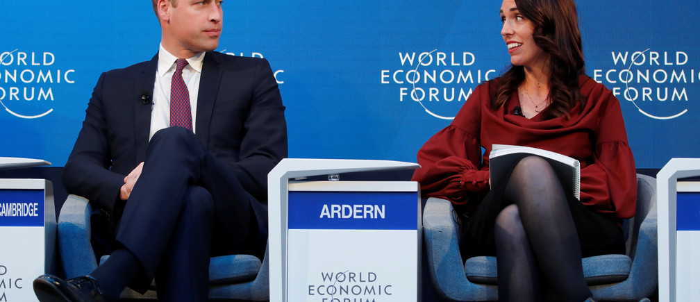 Britain's Prince William, Duke of Cambridge, and New Zealand's Prime Minister Jacinda Ardern attend the World Economic Forum (WEF) annual meeting in Davos, Switzerland, January 23, 2019. REUTERS/Arnd Wiegmann - RC189E5E9140