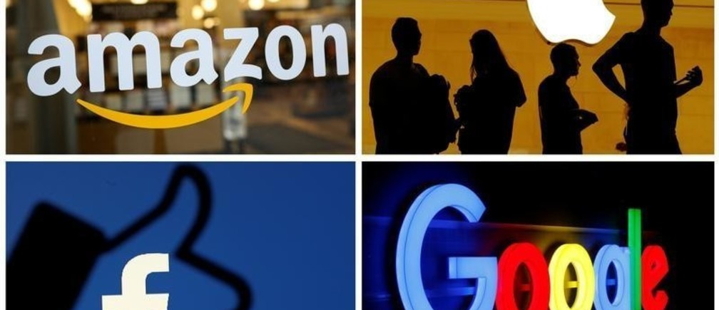 The logos of Amazon, Apple, Facebook and Google are seen in a combination photo from Reuters files.    REUTERS/File Photos - RC196FE450D0