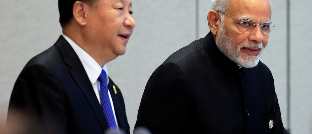 China's President Xi Jinping and India's Prime Minister Narendra Modi at the Shanghai Cooperation Organization summit in June 2018