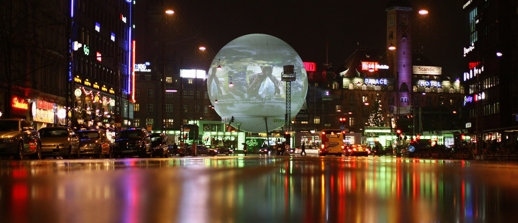 A large globe featuring an interactive display sits in a central square in Copenhagen December 10, 2009.