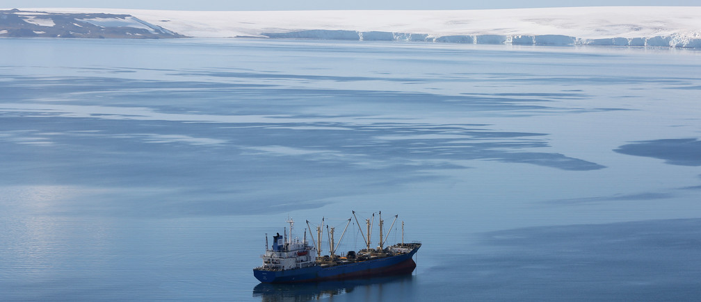 "A krill fishing ship of unknown nationality is seen in Half Moon Bay, Antarctica, February 18, 2018. REUTERS/Alexandre Meneghini   SEARCH ""ANTARCTICA"" FOR THIS STORY. SEARCH ""WIDER IMAGE"" FOR ALL STORIES. - RC132648D3D0"