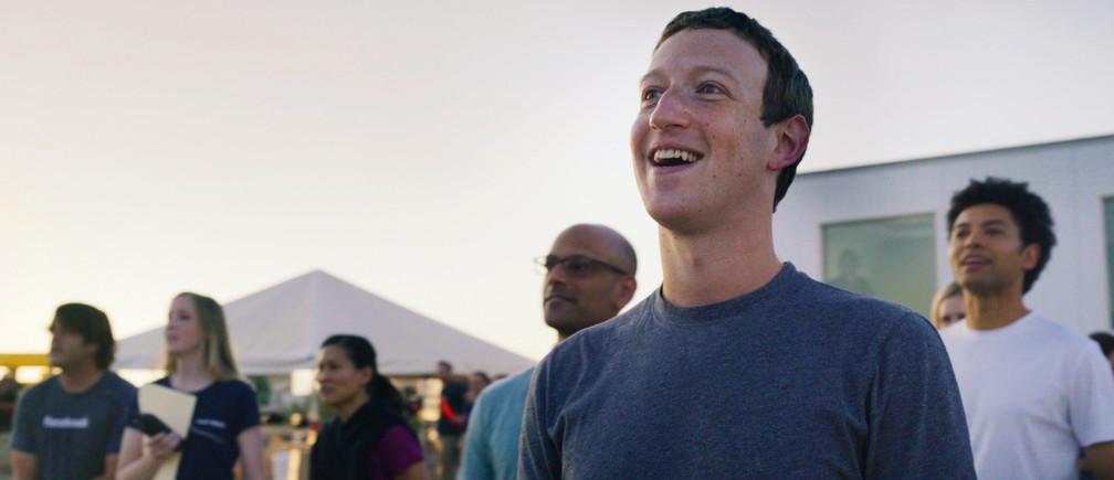 Mark Zuckerberg watching the first test flight of Facebook's solar-powered internet drone