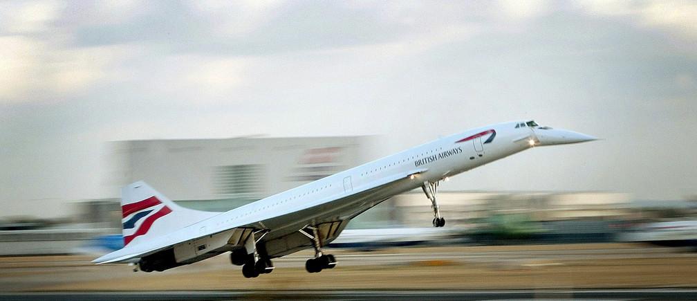 The final British Airways passenger Concorde flight lands at London's Heathrow airport in 2003.