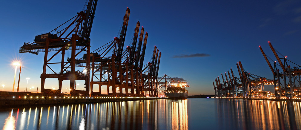 A container ship at the shipping terminal in the Port of Hamburg, Germany