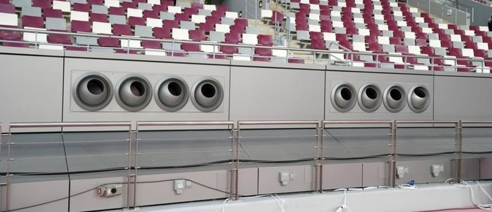 Sep 26, 2019; Doha, Qatar; General overall view of air conditioning climate control units at pitch and field level at Khalifa International Stadium at the Aspire Zone. The venue, named after former emir Khalifa bin Hamad Al Thani, is the site of the 2019 IAAF World Athletics Championships and a venue for the 2022 FIFA World Cup. Mandatory Credit: Kirby Lee-USA TODAY Sports - 13417247