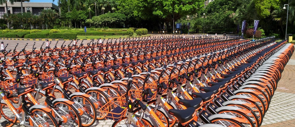 Shared bikes are lined up at a hub in Shenzhen, China