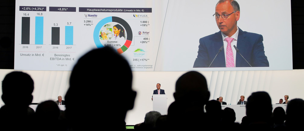 A shareholders' meeting of German pharmaceutical and chemical-maker Bayer AG.