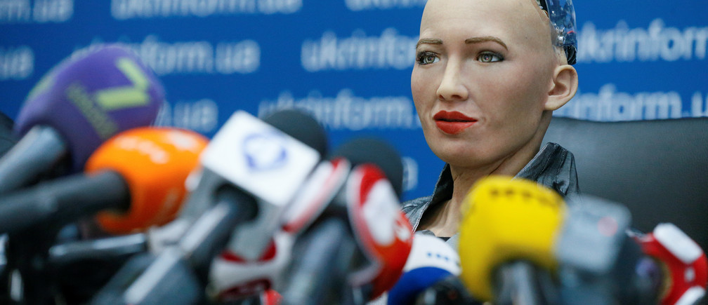 Sophia is a humanoid robot that can converse and make realistic facial movements