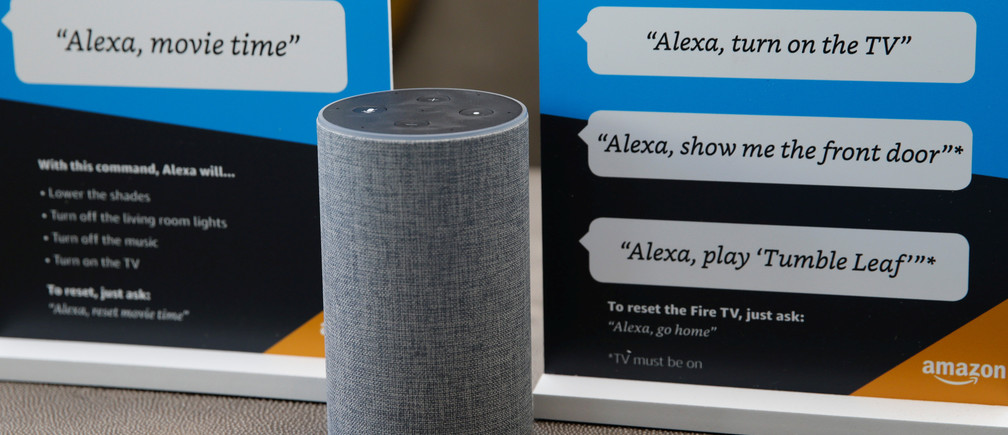 Prompts on how to use the Alexa personal assistant in an Amazon 'experience centre'.