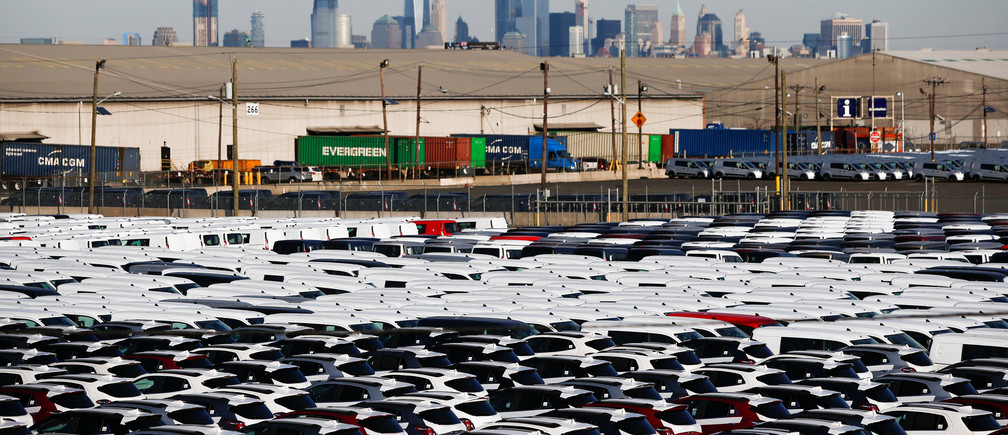 Imported automobiles are collected in a lot at the port of Newark New Jersey, U.S., February 19, 2019. REUTERS/Eduardo Munoz - RC1E7E5F48B0