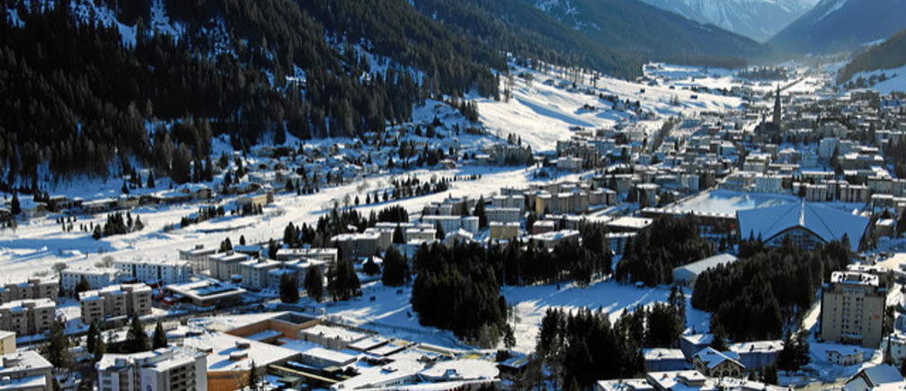 DAVOS/SWITZERLAND, 17JAN11 - Aerial Photo of Davos, the biggest tourism metropolis of the Swiss alps, captured before the opening of the Annual Meeting 2011 of the World Economic Forum in Davos, Switzerland, January 17, 2011. Davos is in the middle of Swiss Alps and the city for holidays, sports, congresses, health, development and culture.Copyright by World Economic Forumswiss-image.ch/Photo by Andy Mettler