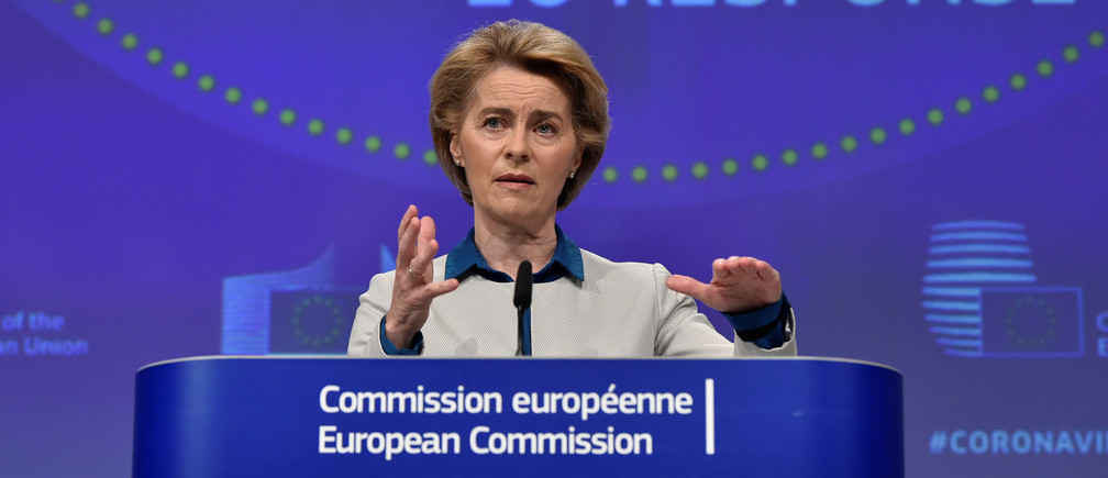 The President of European Commission Ursula von der Leyen holds a news conference on the European Union response to the coronavirus disease (COVID-19) crisis at the EU headquarters in Brussels, April 15, 2020.  John Thys/Pool via REUTERS - RC2Z4G9ZFDGA