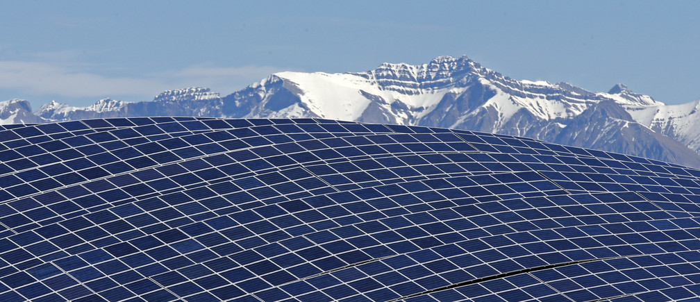 A general view shows solar panels to produce renewable energy at the photovoltaic park in Les Mees, in the department of Alpes-de-Haute-Provence, southern France March 31, 2015.