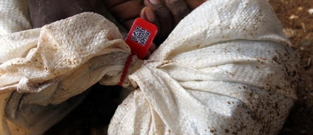 A bag of tantalum sealed in after being tagged and entered into the blockchain traceability system developed by British start-up Circulor Gatumba mine in Gatumba, Western Rwanda October 17, 2018.