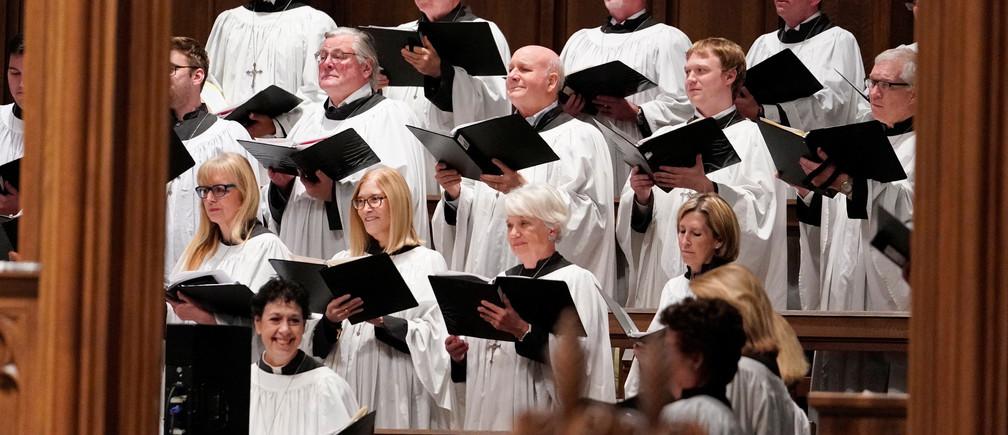 The choir listens during a funeral service for former President George H.W. Bush at St. Martin's Episcopal Church Thursday, Dec. 6, 2018, in Houston. David J. Phillip/Pool via REUTERS - RC1855C05B40