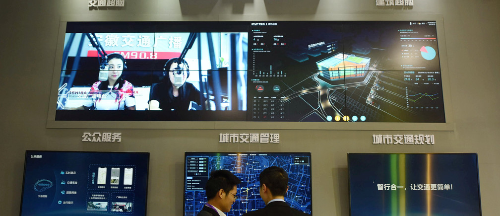 An artificial intelligence smart city display.