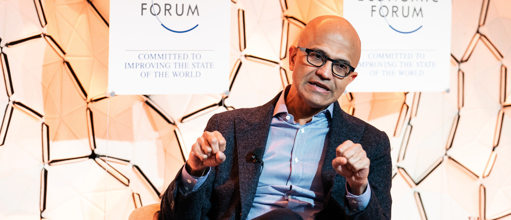 Microsoft CEO Satya Nadella speaking during a session at the World Economic Forum Annual Meeting 2020 in Davos-Klosters, Switzerland.