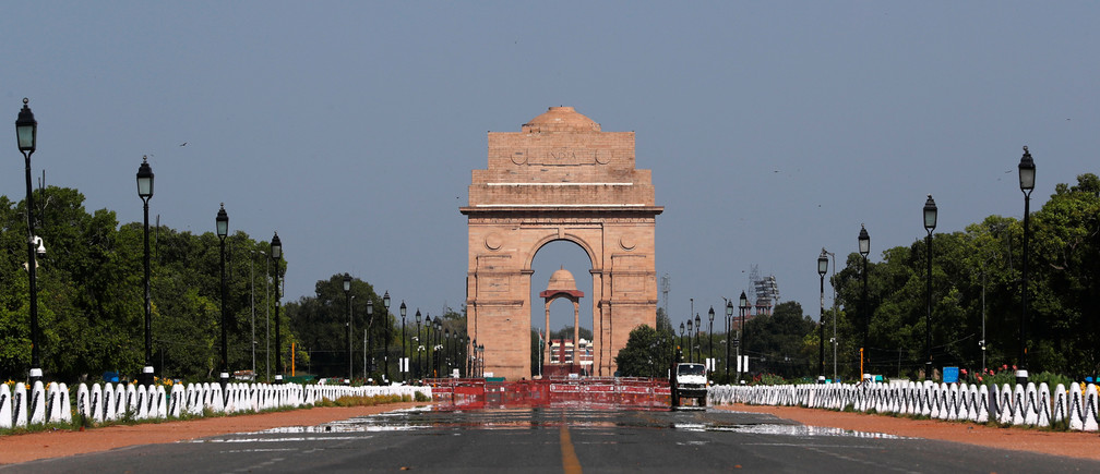 The India Gate war memorial is pictured after air pollution level started to drop during a 21-day nationwide lockdown to slow the spreading of Coronavirus disease (COVID-19), in New Delhi, India, April 8, 2020