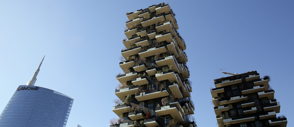 The Vertical Forest (Bosco Verticale) residential towers are seen in the Porta Nuova district in Milan, Italy, February 11, 2016. REUTERS/Stefano Rellandini - D1BESMKQDTAB